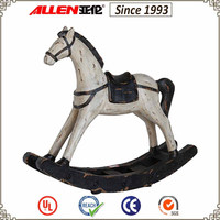 47 cm antique white resin wood rocking horse for home decoration