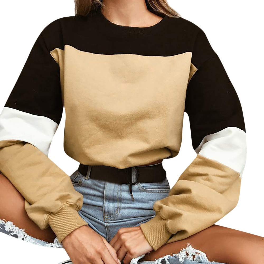 0139303372ada4 Get Quotations · Howstar Women's Casual Long Sleeve Sweatshirt Sexy Short  Shirt Patchwork Blouse O-Neck Pullover Tops