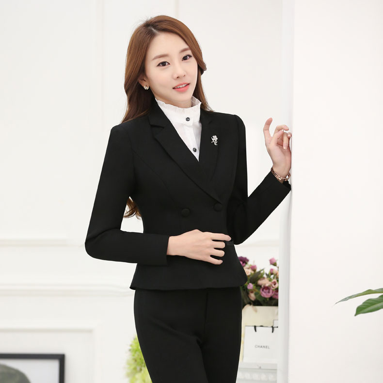 Juqian Elegant Double-breasted Femal Women Suit Pant Suits