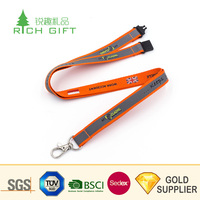 Wholesale promotional cheap custom logo sublimation printed reflective lanyard with id card badge holder