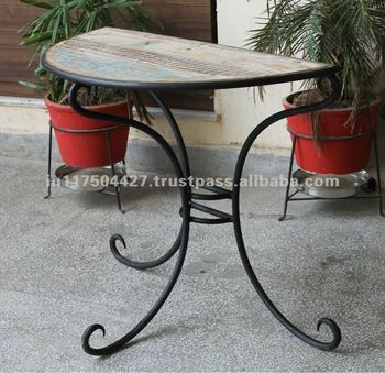 Half Round Table With Recycled Wooden