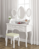 Classic Dressing Stool Dresser White Dressing Table with Mirror European Home Furniture
