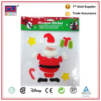 Christmas customized gel stickers window decoration jellies stickers