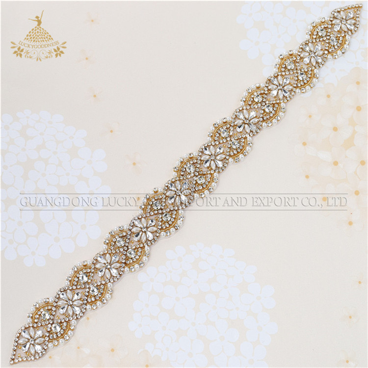 Fashion hot fix crystal rhinestone bridal sash strass kralen bruids trim motif met parels