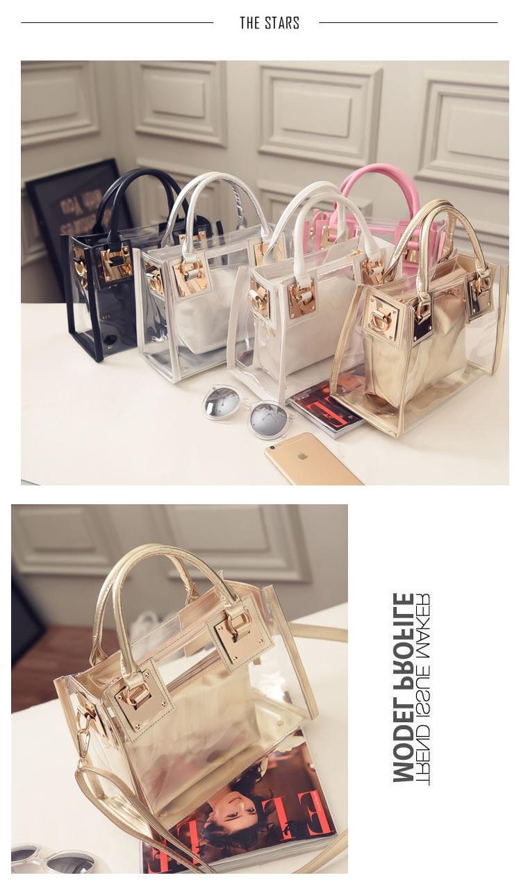 d9cee06ff294 Европа мода женщины прозрачный ПВХ сумка лето сладкий Леди желе ясно  пластиковые пляжная сумка конфеты цвет сумки на ремне сумка. 1 2 3 ...