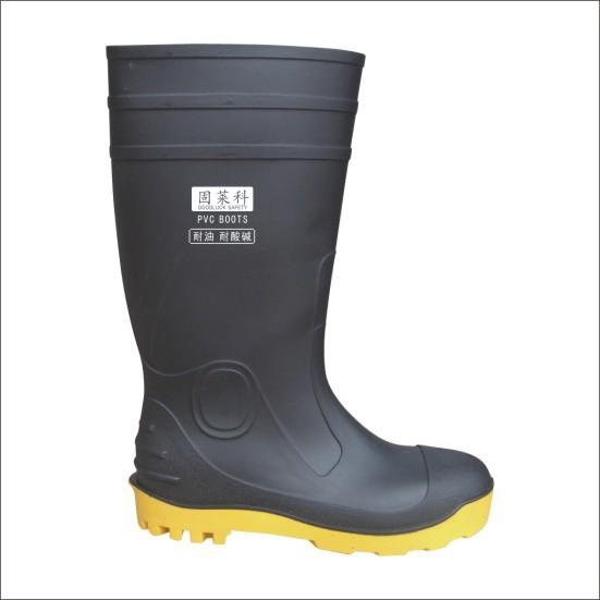 High quality 100% pvc waterproof rain boot with steel toe and steel plate