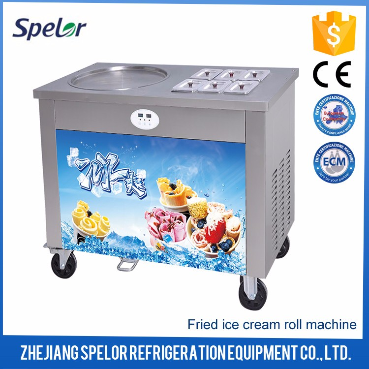 Highly-Efficient Thailand Rolled Fried Ice Cream Machine For Ice Cream Store
