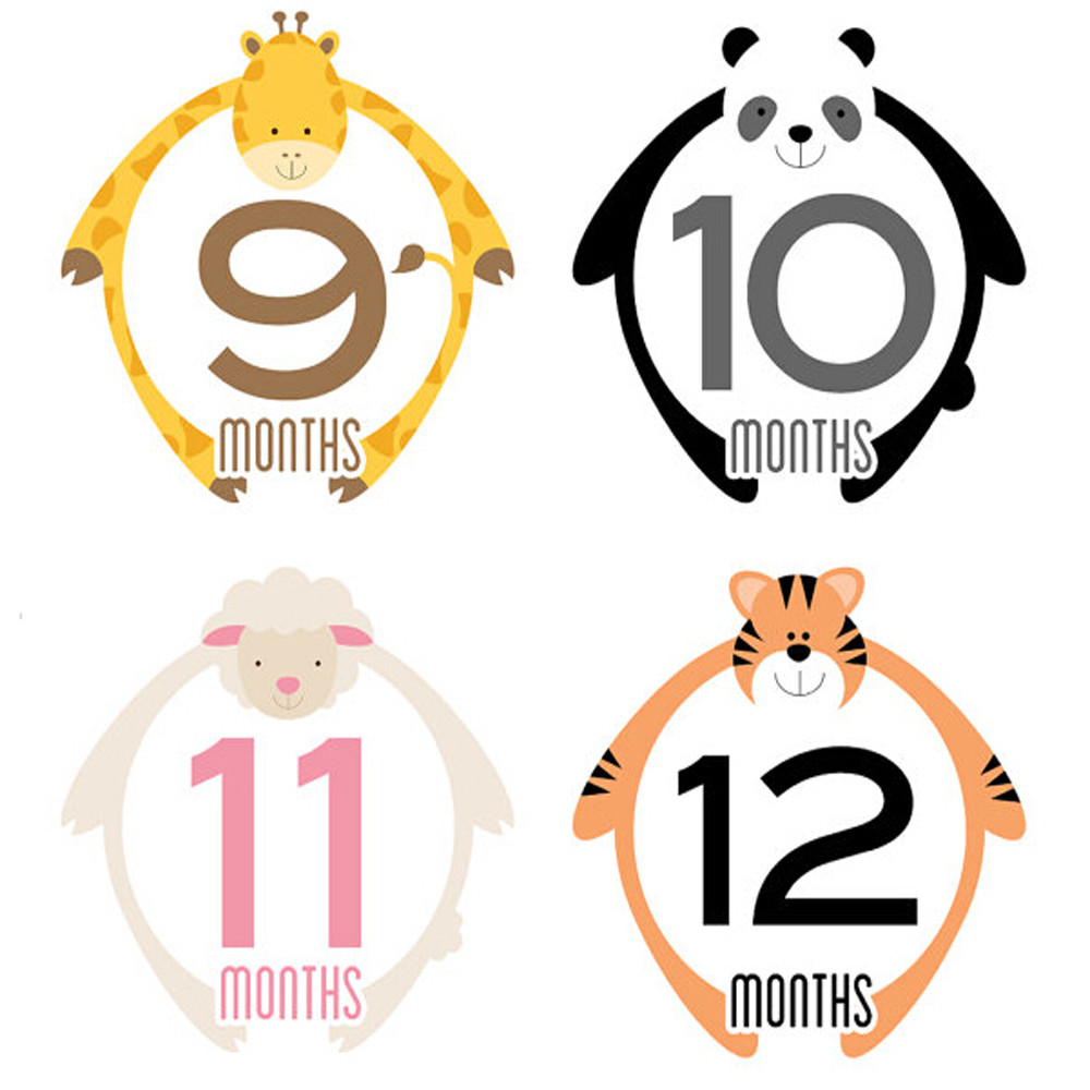 Baby Monthly Milestone Stickers - Simple Cute Animal Design for Girl and Boy - 1 to 12 months - Milestone Stickers - Monkey Elep