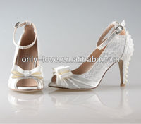 BS818 beautiful custom make peep toe ivory lace pearls wedding shoes bridal shoes