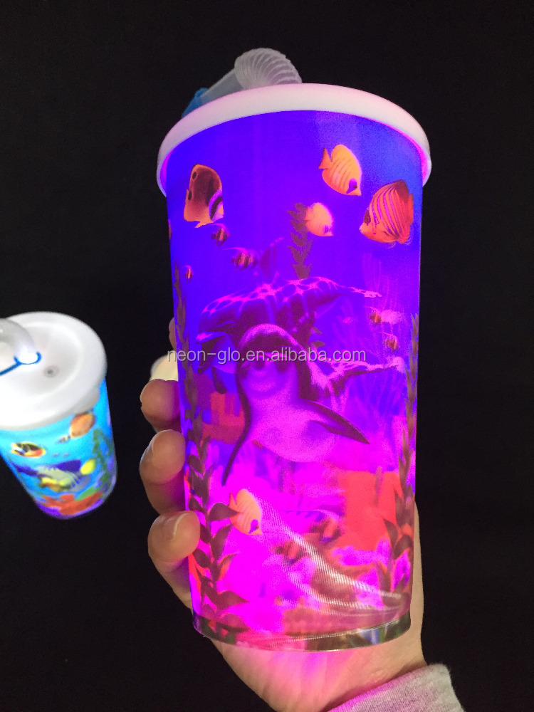 Glow in the dark drink cup LED flashing personalized acrylic tumbler with straw