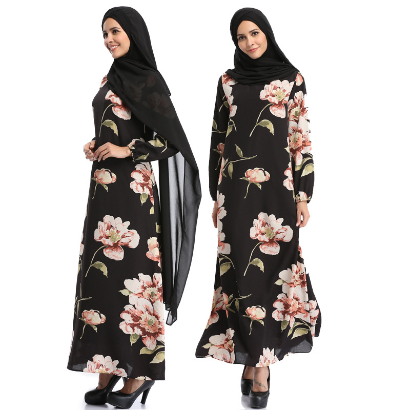 Spring Summer hot selling islamic abaya women floral printed dress chiffon fabric abaya dress