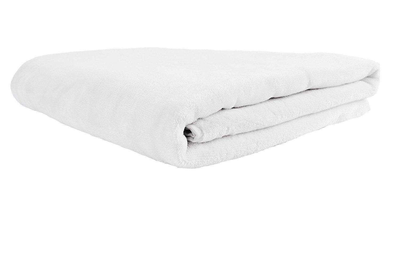Terry Velour Beach Towel, 100% Turkish Soft Cotton, Made in TURKEY (Beach Towel, White)