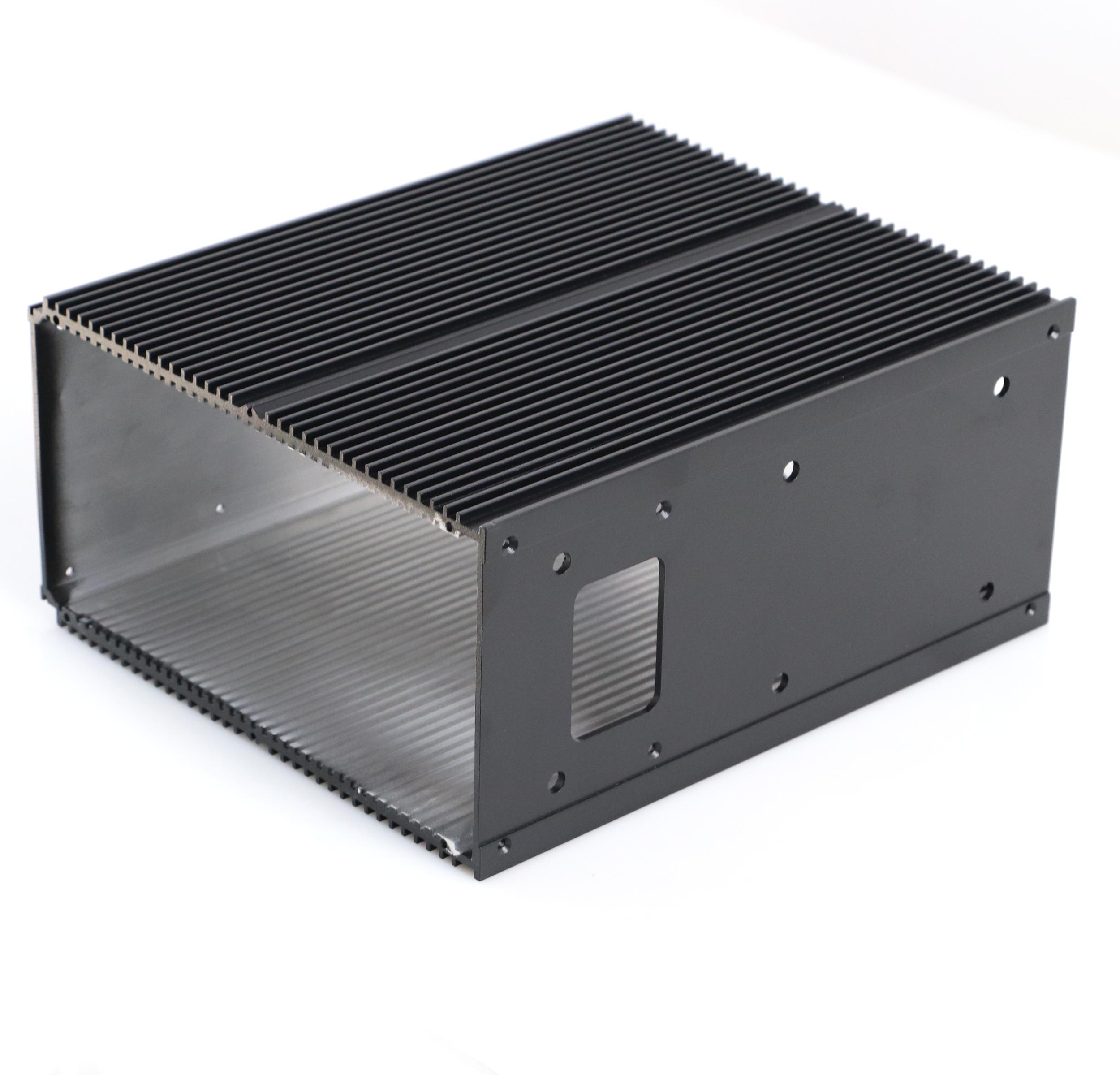 black Extruded Aluminum Heatsink Extrusion Profiles , 6061 / 6005 Aluminum Heatsinks with cnc machining