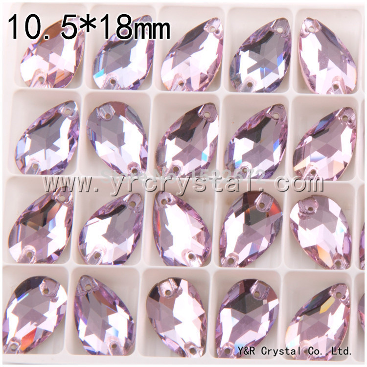 Free shipping drop Violet Color 10.5*18mm 108pcs flat back sew on crystals wholesale rhinestones