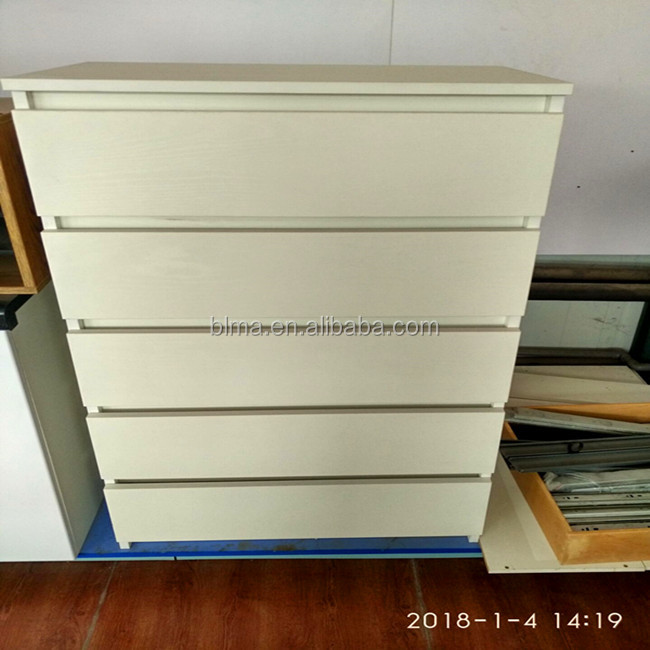 white color China melamine 5 drawer cabinet simple design