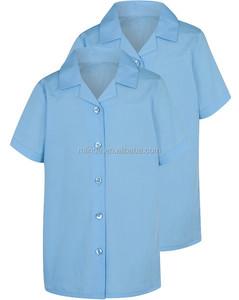 Girls School Short Sleeve Shirts Light Blue