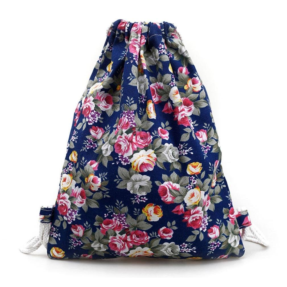 2ec2ed4717 Get Quotations · Muangan Womens Floral Canvas Backpack Fashion Drawstring  Backpack for Shopping Sport Yoga