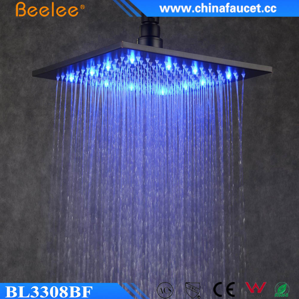 9mm Rain Fall Water Saving Top Shower Black Painted Led Light Square Shower Head