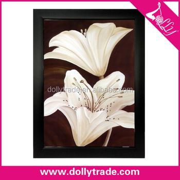 Basit Beyaz Zambak çiçekler Boyama Tuval Sanat Duvar Dekorasyonu
