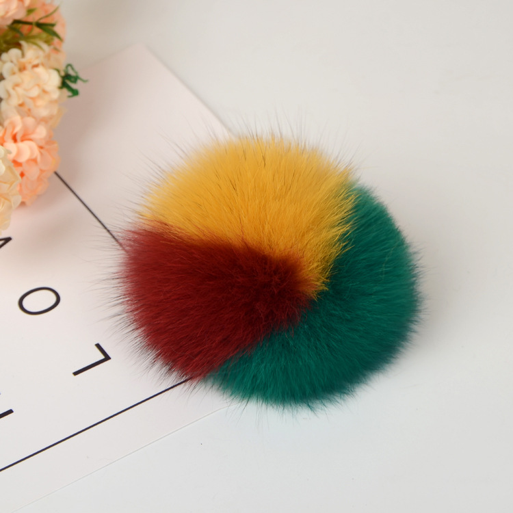 Handmade dyed <strong>fox</strong> <strong>fur</strong> <strong>ball</strong> clothing shoes accessories real hair pendant <strong>keychain</strong> 8 - 12cm