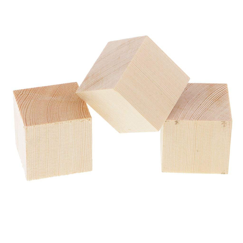 Baosity 3 Pieces Unfinished Unpainted Wooden Cube Blocks Wood Shapes Embellishment for Painting Hobbies DIY Crafts 35x35x35mm