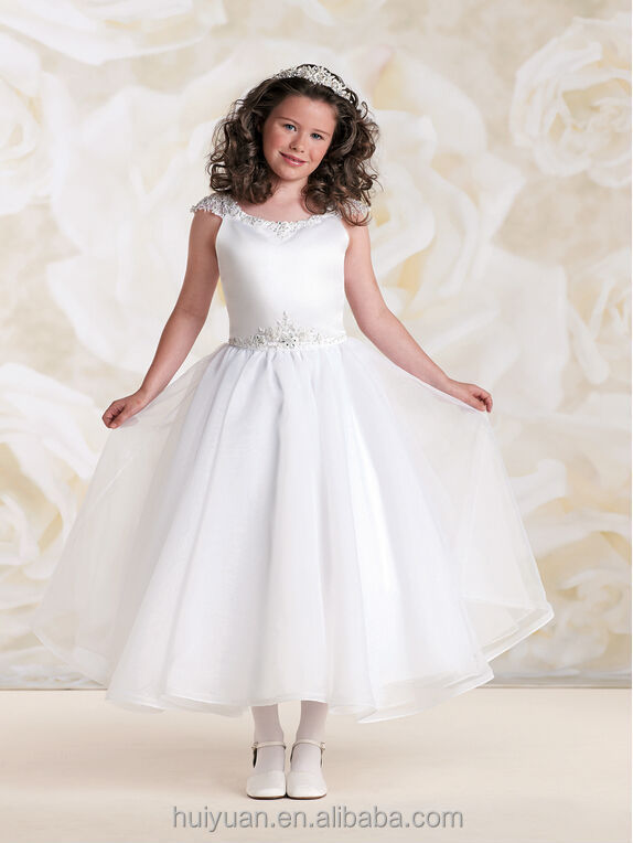 Elegant White Chiffon Beaded Cap Sleeve Baby Wedding Dress Cheap ...