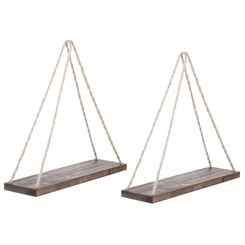 Nordic Display Wall Hanging Shelf Swing Rope Floating Shelves with Rope String