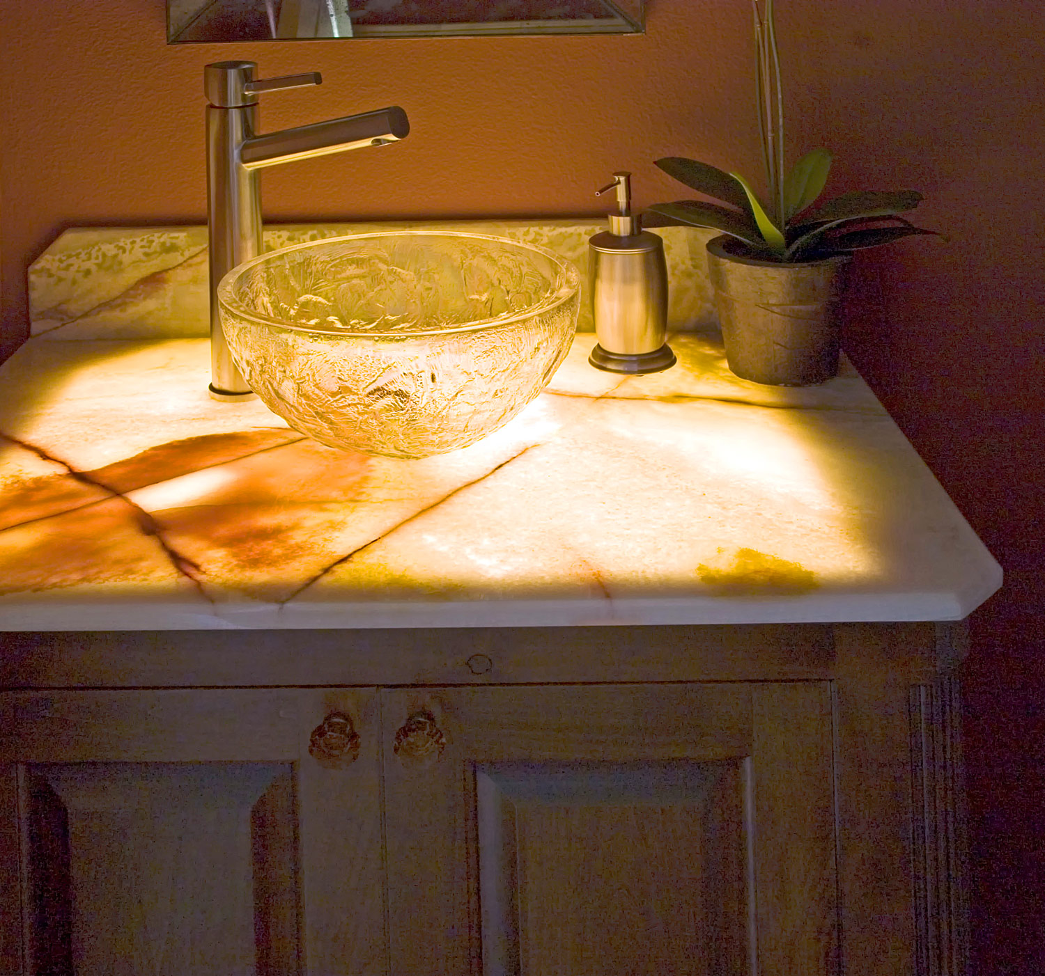 Luxury White Onyx Bathroom Vanity Top