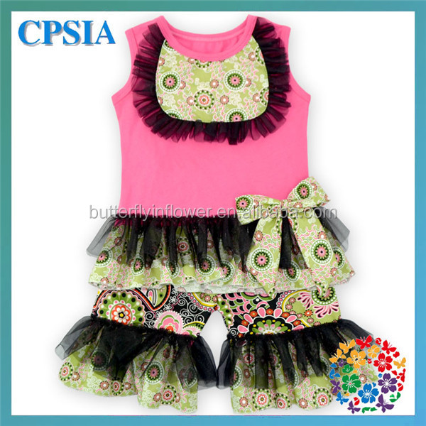 7f4decce3 Vintage Girls Outfit Casual Kids Spring Summer Ruffle Pants Outfits ...