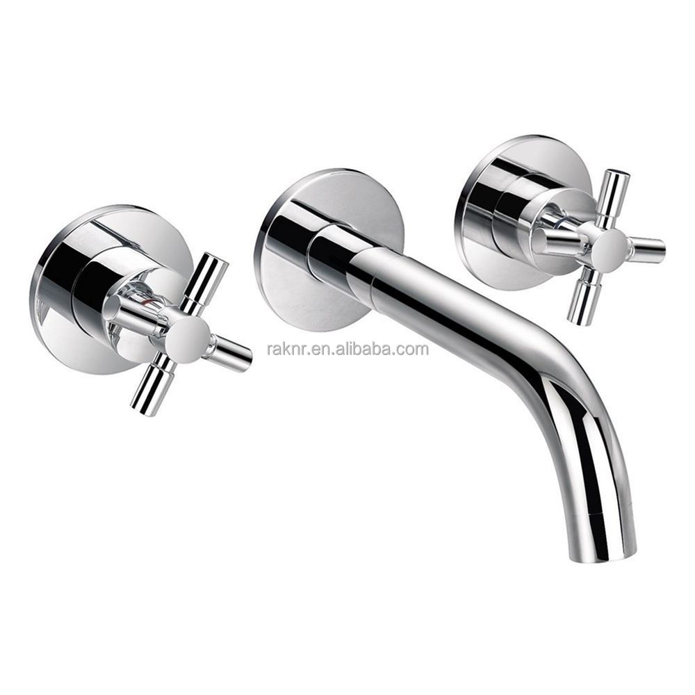 Double Cross Handle Wall Mounted Faucet Bath Filler Tap Basin ...