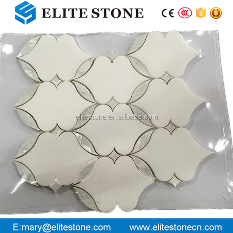 High quality marble Thassos white marble mosaic and Shell water jet mosaic