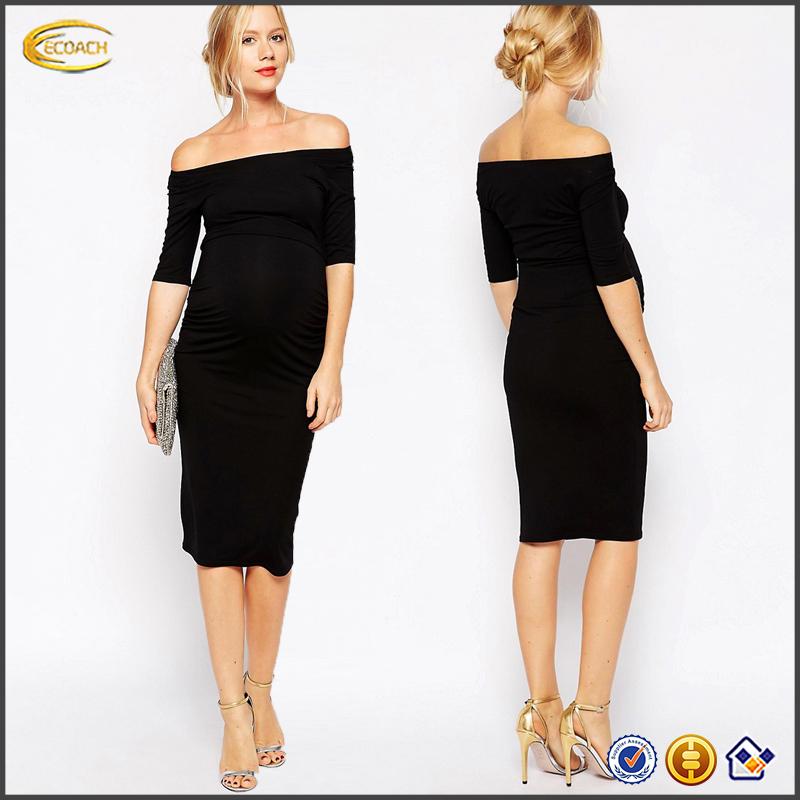 a0d2b02d92dc9 Ecoach wholesale maternity women's fashion knit Off-shoulder korean style maternity  dress maternity clothes manufacturers