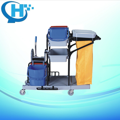 Plastic bag Janitor Cart With Wheels Or Service cleaning trolley Cart