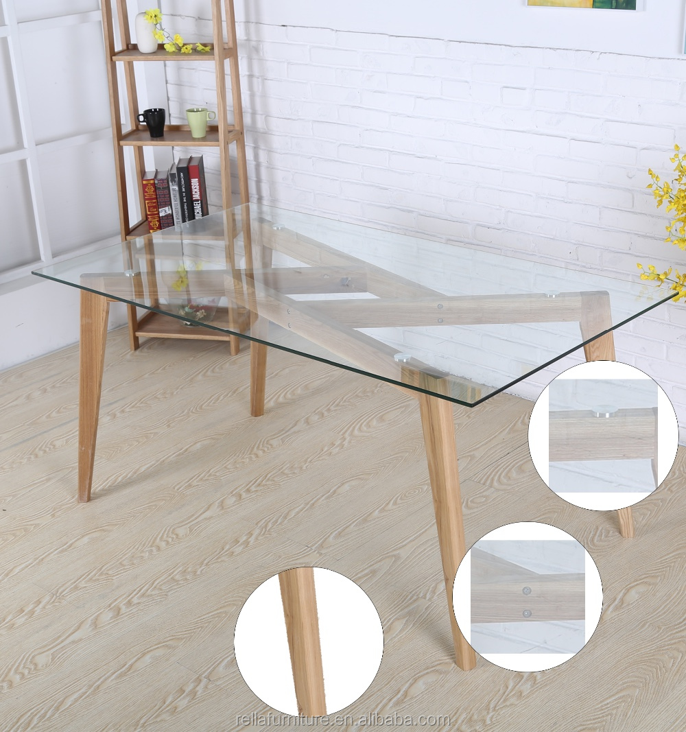 Glass Top With Wooden Legs Dining Room Tables Indoor Furniture Buy Table To