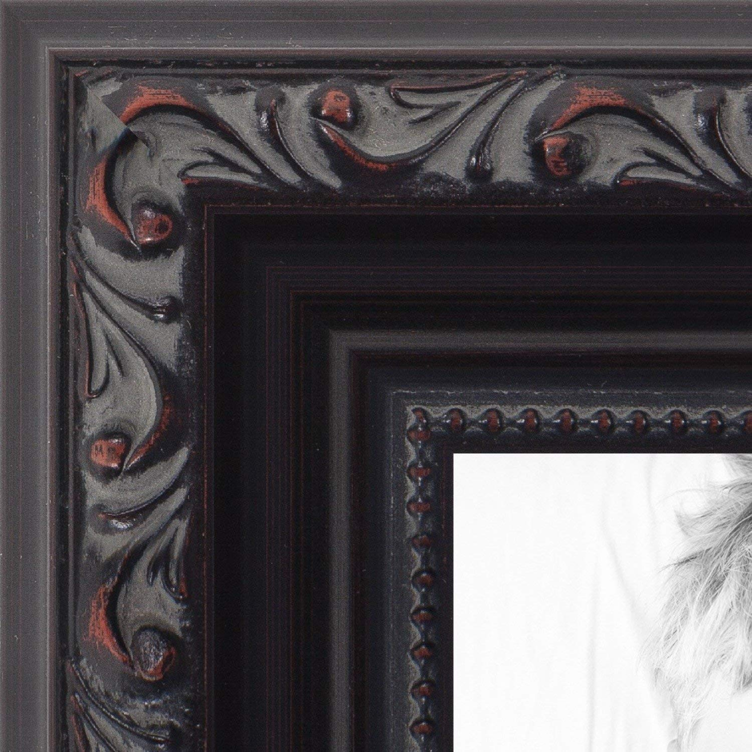 Get Quotations Arttoframes 22x34 Inch Black With Beads Wood Picture Frame 2womd10188