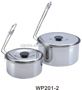 Jiangmen factory Stainless Steel cookware pots camping mini cooking set