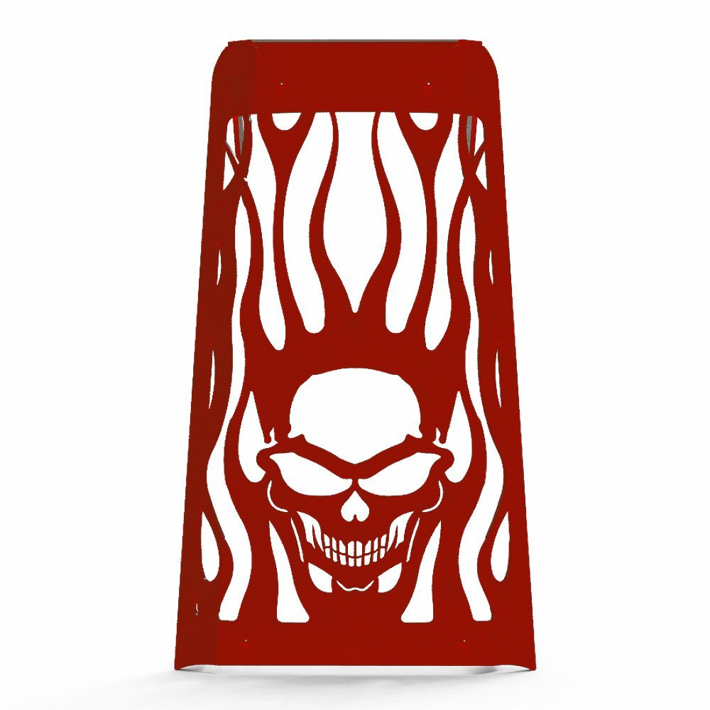 Skull Flame Red Powdercoat Radiator Grill Guard Cover fits: 2010-2016 Honda Fury VT1300 - Ferreus Industries - GRL-100-09-Red