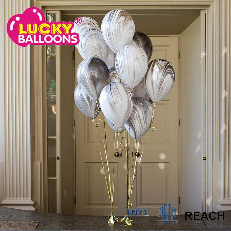 Striped latex balloons round latex marble balloons