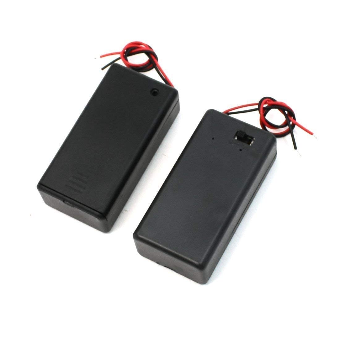 YaptheS Pair 9V Battery Holder Storage Case ON/Off Switch w Cap 2 Pcs
