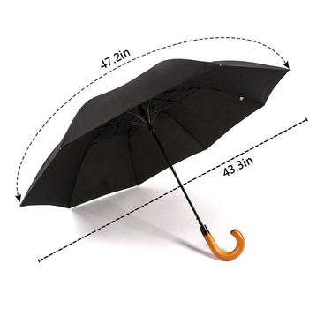 RST real star umbrella promotions high quality 190t pongee two folding umbrella with wooden handle