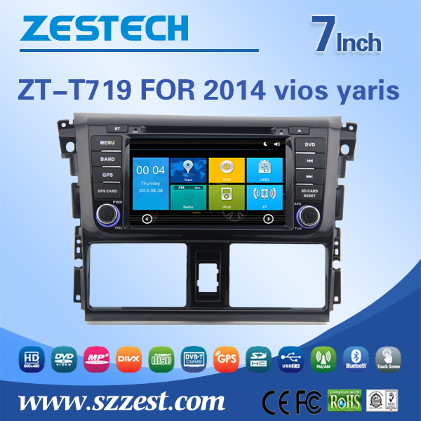 7'' HD digital in-dash Car dvd gps player for toyota vios yaris 2014 with GPS, IPOD, TV, radio, bluetooth