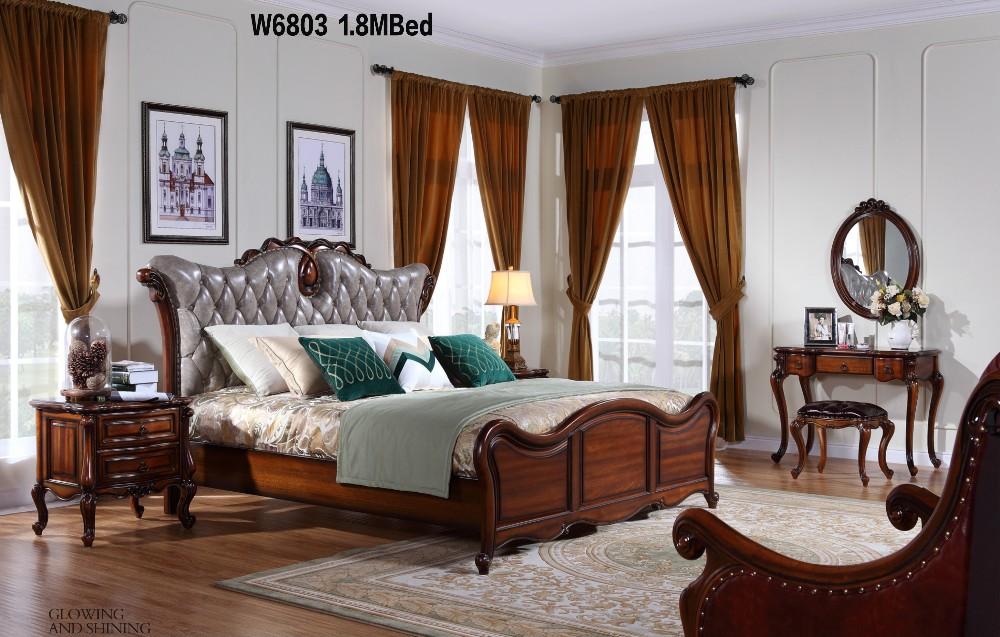 w6810 european style solid wood italian leather luxury baroque