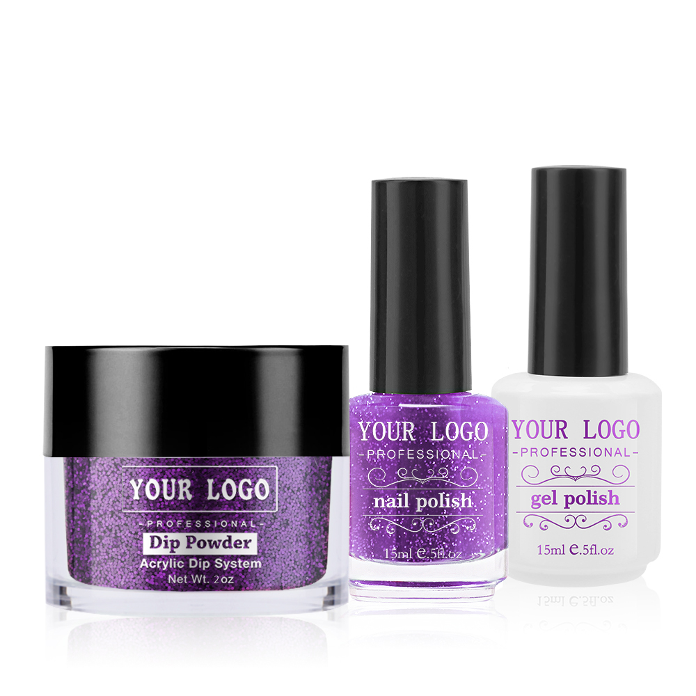 Purple 3 in 1 Nails Beauty Color Match Acrylic Dipping <strong>Powder</strong> and Nail Varnish without Lamp Curing