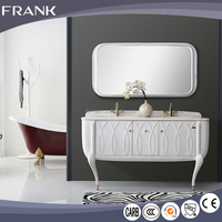 Italian design commercial double vanity bathroom with wash sink