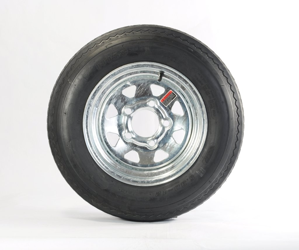"eCustomRim 2-Pk Trailer Tire Rim 5.30-12 12"" Load C 5 Lug Galvanized Spoke 39354"