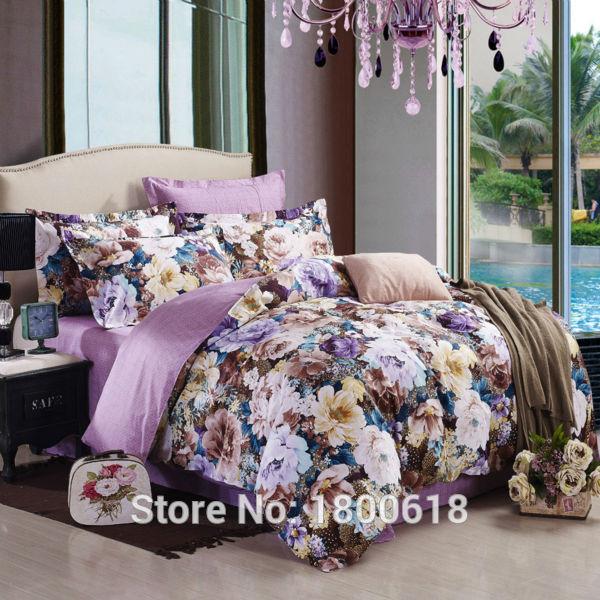 2015 lilas couleur drap de lit belle fleurs ensembles de literie reine mariage draps housse de. Black Bedroom Furniture Sets. Home Design Ideas