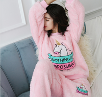Two Pieces Set Women best selling soft fleece women funny unicorn pink wholesale printed pajamas
