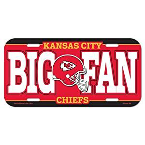 Kansas City Chiefs NFL License Plastic Plate Vanity Car Graphics Football Sign Tag Officially Licensed NFL Merchandise