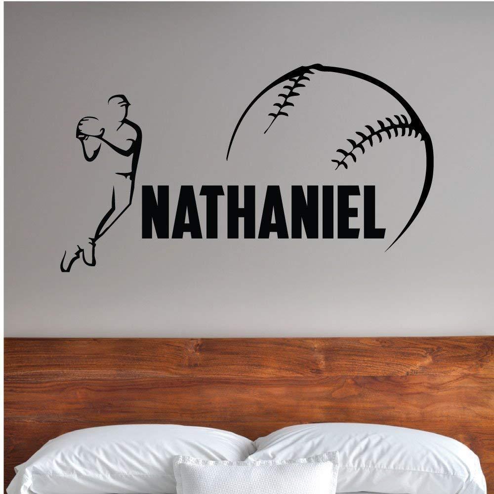 Custom Boys Name Baseball Player. -0280- Personalized Boys Baseball Wall Decal - Baseball Theme Wall Decal