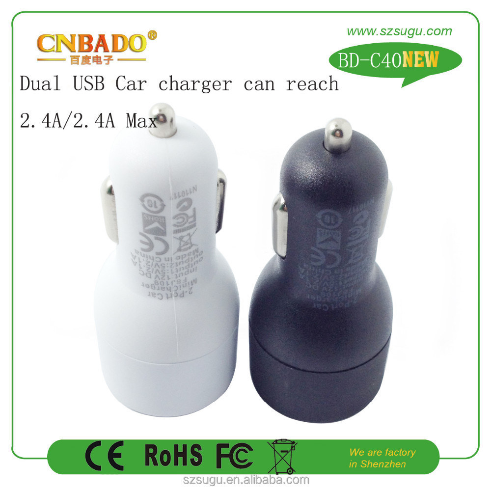 Factory hot model elecronic high capacity car battery charger dual port car usb charger 5V 4.8A
